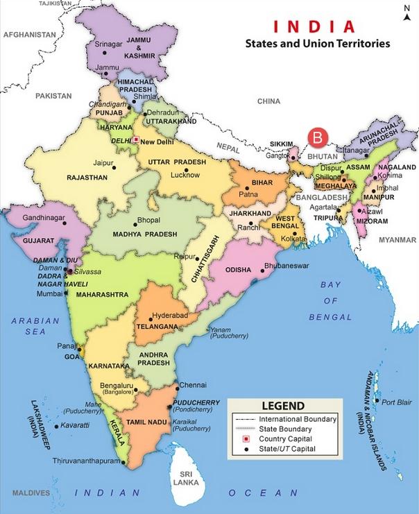 82613647India Map Bhutan